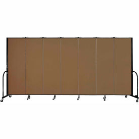 "Screenflex Portable Room Divider - 7 Panel - 6'H x 13'1""L - Walnut"