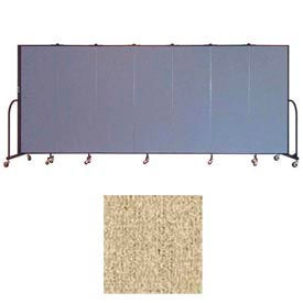 "Screenflex 7 Panel Portable Room Divider, 6'H x 13'1""L, Vinyl Color: Sandalwood"