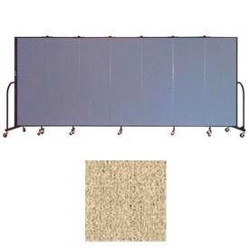 """Screenflex 7 Panel Portable Room Divider, 6'H x 13'1""""L, Vinyl Color: Sandalwood"""