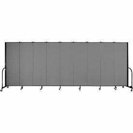 "Screenflex Portable Room Divider - 9 Panel - 6'H x 16'9""L - Grey"