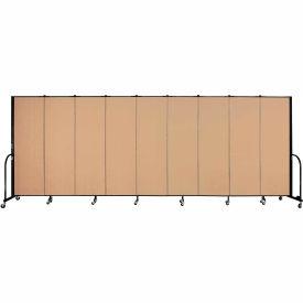 "Screenflex 9 Panel Portable Room Divider, 6'H x 16'9""L, Fabric Color: Wheat"