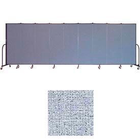 "Screenflex 9 Panel Portable Room Divider, 6'H x 16'9""L, Vinyl Color: Blue Tide"
