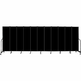 "Screenflex 11 Panel Portable Room Divider, 6'8""H x 20'5""L, Fabric Color: Charcoal Black"