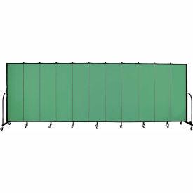 "Screenflex 11 Panel Portable Room Divider, 6'8""H x 20'5""L, Fabric Color: Sea Green"