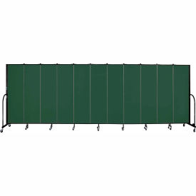 "Screenflex 11 Panel Portable Room Divider, 6'8""H x 20'5""L, Fabric Color: Green"