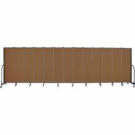 "Screenflex 13 Panel Portable Room Divider, 6'8""H x 24'1""L, Fabric Color: Walnut"
