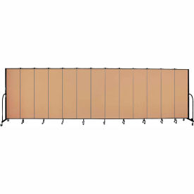 "Screenflex 13 Panel Portable Room Divider, 6'8""H x 24'1""L, Fabric Color: Desert"
