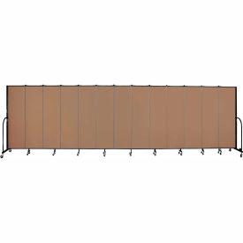 "Screenflex 13 Panel Portable Room Divider, 6'8""H x 24'1""L, Fabric Color: Beech"