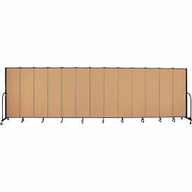 "Screenflex 13 Panel Portable Room Divider, 6'8""H x 24'1""L, Fabric Color: Sand"