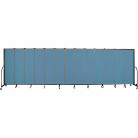 "Screenflex 13 Panel Portable Room Divider, 6'8""H x 24'1""L, Fabric Color: Blue"