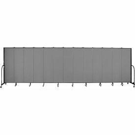 "Screenflex 13 Panel Portable Room Divider, 6'8""H x 24'1""L, Fabric Color: Grey"
