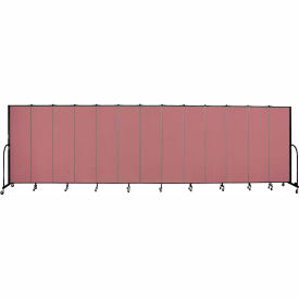 "Screenflex 13 Panel Portable Room Divider, 6'8""H x 24'1""L, Fabric Color: Mauve"