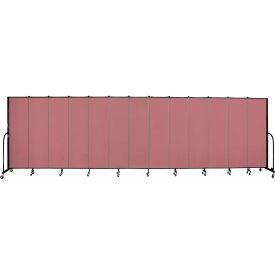 """Screenflex 13 Panel Portable Room Divider, 6'8""""H x 24'1""""L, Fabric Color: Mauve"""