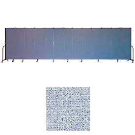 "Screenflex 13 Panel Portable Room Divider, 6'8""H x 24'1""L, Vinyl Color: Blue Tide"