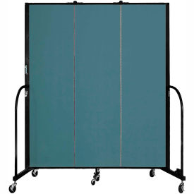 "Screenflex 3 Panel Portable Room Divider, 6'8""H x 5'9""L, Fabric Color: Lake"