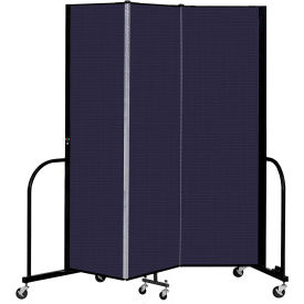 """Screenflex 3 Panel Portable Room Divider, 6'8"""" H x 5'9"""" L, Fabric Color: Navy"""