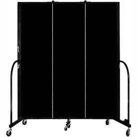 "Screenflex 3 Panel Portable Room Divider, 6'8""H x 5'9""L, Fabric Color: Charcoal Black"