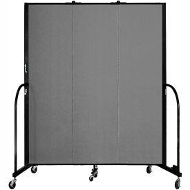 "Screenflex 3 Panel Portable Room Divider, 6'8""H x 5'9""L, Fabric Color: Grey"