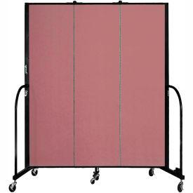 """Screenflex 3 Panel Portable Room Divider, 6'8""""H x 5'9""""L, Fabric Color: Mauve"""