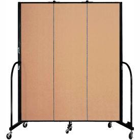 "Screenflex 3 Panel Portable Room Divider, 6'8""H x 5'9""L, Fabric Color: Wheat"