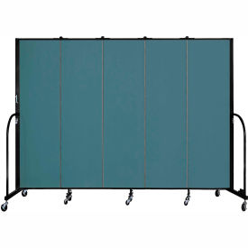 "Screenflex 5 Panel Portable Room Divider, 6'8""H x 9'5""L, Fabric Color: Lake"