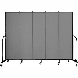 "Screenflex 5 Panel Portable Room Divider, 6'8""H x 9'5""L, Fabric Color: Stone"