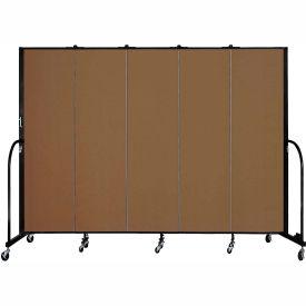"Screenflex 5 Panel Portable Room Divider, 6'8""H x 9'5""L, Fabric Color: Walnut"