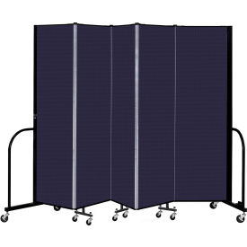 "Screenflex 5 Panel Portable Room Divider, 6'8"" H x 9'5"" L, Fabric Color: Navy"