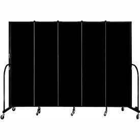 "Screenflex 5 Panel Portable Room Divider, 6'8""H x 9'5""L, Fabric Color: Charcoal Black"