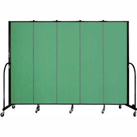 "Screenflex 5 Panel Portable Room Divider, 6'8""H x 9'5""L, Fabric Color: Sea Green"
