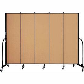 "Screenflex 5 Panel Portable Room Divider, 6'8""H x 9'5""L, Fabric Color: Sand"