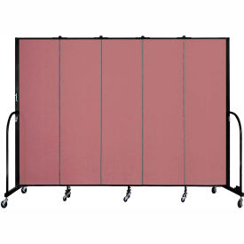 """Screenflex 5 Panel Portable Room Divider, 6'8""""H x 9'5""""L, Fabric Color: Mauve"""