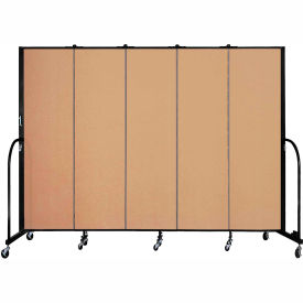 "Screenflex 5 Panel Portable Room Divider, 6'8""H x 9'5""L, Fabric Color: Wheat"