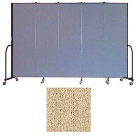 """Screenflex 5 Panel Portable Room Divider, 6'8""""H x 9'5""""L, Vinyl Color: Sandalwood"""