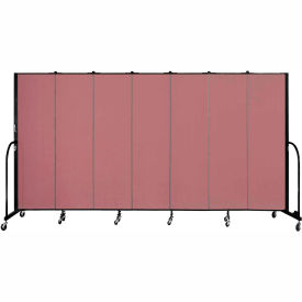 "Screenflex 7 Panel Portable Room Divider, 6'8""H x 13'1""L, Fabric Color: Rose"
