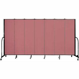 "Screenflex 7 Panel Portable Room Divider, 6'8""H x 13'1""L, Fabric Color: Rose"