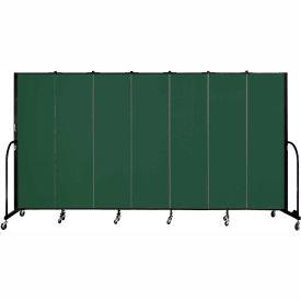 "Screenflex 7 Panel Portable Room Divider, 6'8""H x 13'1""L, Fabric Color: Mallard"