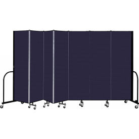 """Screenflex 7 Panel Portable Room Divider, 6'8"""" H x 13'1"""" L, Fabric Color: Navy"""