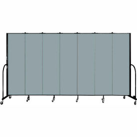 "Screenflex 7 Panel Portable Room Divider, 6'8""H x 13'1""L, Fabric Color: Grey Stone"