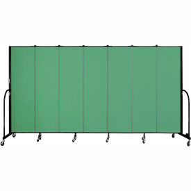 "Screenflex 7 Panel Portable Room Divider, 6'8""H x 13'1""L, Fabric Color: Sea Green"