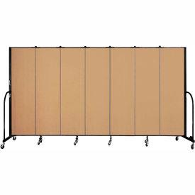 "Screenflex 7 Panel Portable Room Divider, 6'8""H x 13'1""L, Fabric Color: Sand"