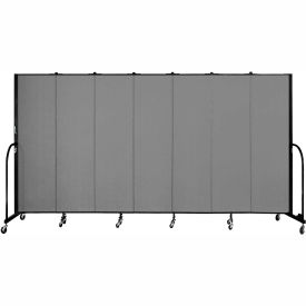 "Screenflex 7 Panel Portable Room Divider, 6'8""H x 13'1""L, Fabric Color: Grey"