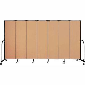 "Screenflex 7 Panel Portable Room Divider, 6'8""H x 13'1""L, Fabric Color: Wheat"