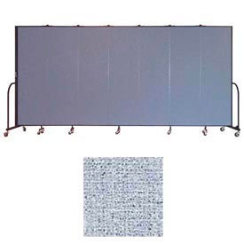 "Screenflex 7 Panel Portable Room Divider, 6'8""H x 13'1""L, Vinyl Color: Blue Tide"