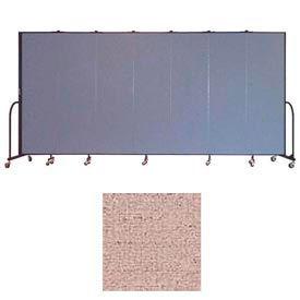"Screenflex 7 Panel Portable Room Divider, 6'8""H x 13'1""L, Vinyl Color: Raspberry Mist"