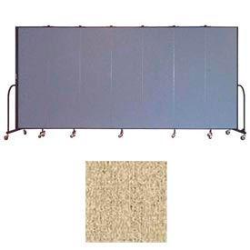 """Screenflex 7 Panel Portable Room Divider, 6'8""""H x 13'1""""L, Vinyl Color: Sandalwood"""