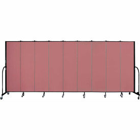 "Screenflex 9 Panel Portable Room Divider, 6'8""H x 16'9""L, Fabric Color: Rose"
