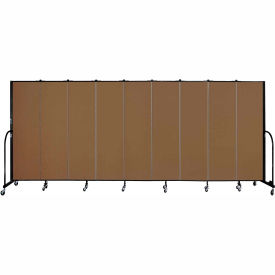 "Screenflex 9 Panel Portable Room Divider, 6'8""H x 16'9""L, Fabric Color: Walnut"