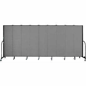 "Screenflex 9 Panel Portable Room Divider, 6'8""H x 16'9""L, Fabric Color: Grey"