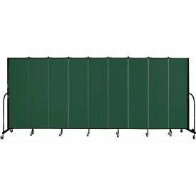 "Screenflex 9 Panel Portable Room Divider, 6'8""H x 16'9""L, Fabric Color: Green"